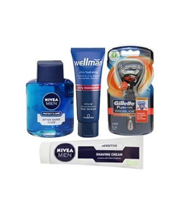 پکیج بهداشتی اصلاح موی آقایان شامل خمیر ریش، خودتراش، افترشیو و کرم مرطوب کننده