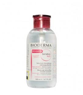 محلول پاک کننده آرایش بایودرما 500 میل پمپی مدل Sensibio H2O